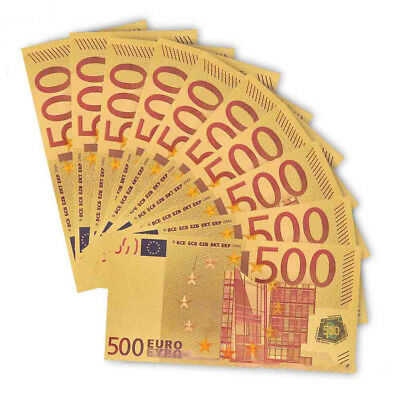 Gold Foil €500 Euro Bank Note Paper Money Coin Collectible Bill Souvenir Gifts