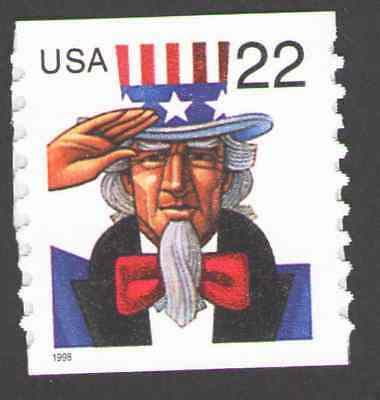 US. 3263. 22c. Uncle Sam Coil. MNH. 1998