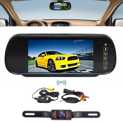 "Wireless Car Bus Truck Rear View Kit 7"" Lcd Mirror Monitor + Ir Back Up Camera"