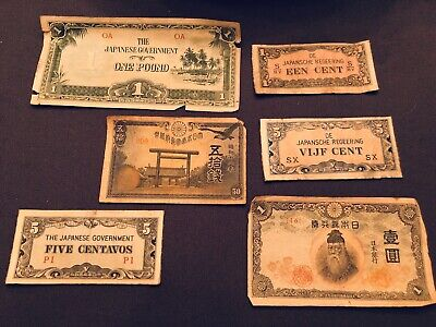 Set Of 6 Rare Japanese Bank Notes Various Dates And Currencies