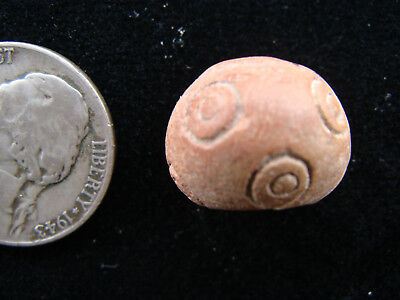 ANCIENT PRE-COLUMBIAN MOCHE CHIMU 'Eyes' SPINDLE WHORL BEAD PERU 100BC-1430A