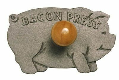Norpro Cast Iron Pig Press Bacon Sandwich Ham Burgers Cook Fry with Wood Handle