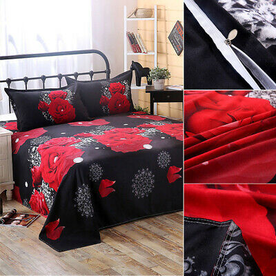 4pcs 3D Rose King  Quilt Cover Pillow Cases Sheet Bedding Complete for 1.8m Bed
