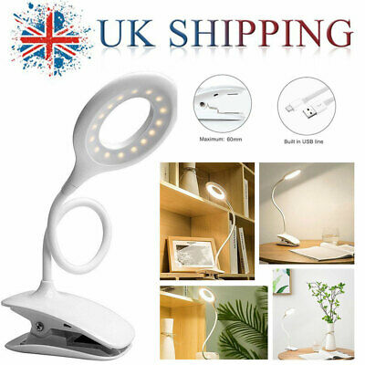 Flexible LED Light Lamp Beside Desk Bed Clip-on Table Eye Protection Reading USB