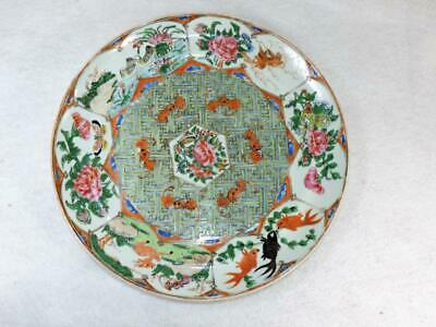 Antique Chinese Export Plate VERY UNIQUE Pattern Bats Famille Decoration NR