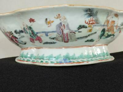 Antique Chinese Lobed Offering Bowl Famille COURT FIGURES Unique Pattern 19thC