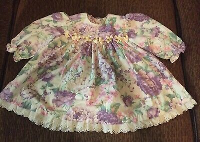 Vintage Girls Twirl Ruffle Floral With Lace Easter Party Dress 12 18 Months