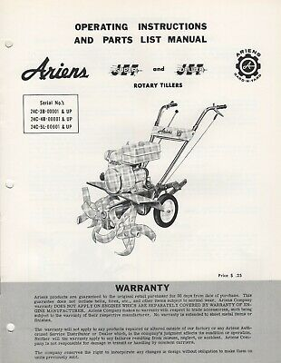 ARIENS JET SUPER Jet Deluxe Jet Rotary Tillers Parts Manual