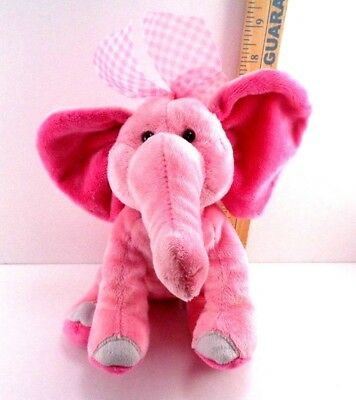 Douglas Plush Pink Elephant With Pink Gingham Bow Soft Stuffed Animal Toy 9""