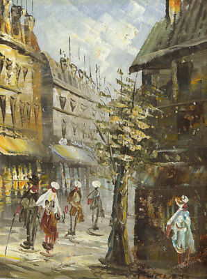 20th Century Oil - Street Scene with Figures