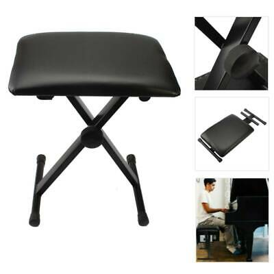 Foldable Adjustable Piano Keyboard Bench Folding Stool Chair Padded Seat 40x30cm
