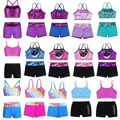 Girls Gymnastics Ballet Dance Outfits Two-Pieces Crop Tops+Bottoms Skirt Costume
