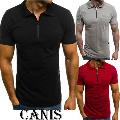 Fashion Men Slim Fit V Neck Short Sleeve Muscle Polo T-shirt Casual Top Blouse