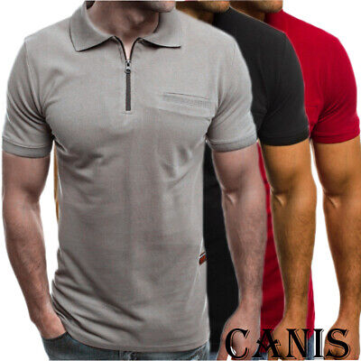 Mens Slim Zipper Fit Polo Shirts Short Sleeve Casual Muscle T-Shirt Tops Tee UK