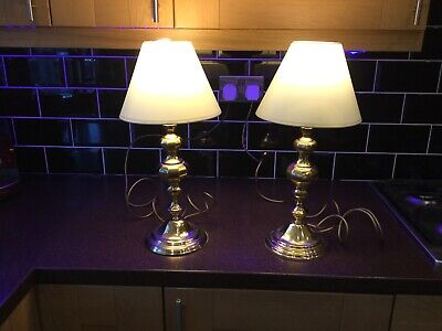 Antique Brass Pair Of desk Table Lamp With Shades  1970s