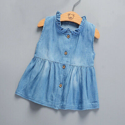 Summer Toddler Baby Girl Princess Party Dress Denim Dress Kids Lace Outfits 2018