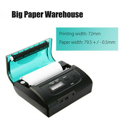 ZJ-8002 80mm Bluetooth Mini Thermal POS Printer ESC High Speed Portable Black EU