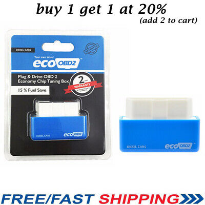 ECO OBD2 Economy Tuning Chip Box For DIESEL Car Vehicles Plug & Drive Blue UK
