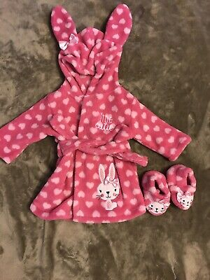 Baby Girl Dressing Gown And Slippers 0-3 Months