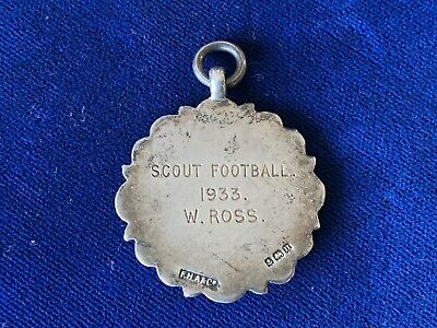 1933 Sterling Silver SCOUT FOOTBALL Fob Medal W.ROSS -F.H.ADAMS & Co. Birmingham