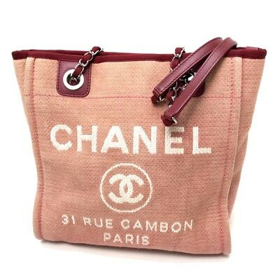 9f79a1b0ec42 AUTHENTIC CHANEL Deauville Chain Shoulder Bag Tote Bag Red Canvas Leather  A66939