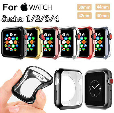 For Apple Watch Series 4/3/2/1 Plating Bumper Soft TPU Case Cover 38/42/40/44mm