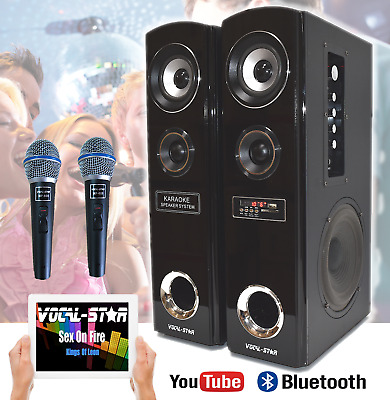 Vocal-Star Vst100 Bluetooth Mp3 Karaoke Speaker Machine Set With 2 Microphones