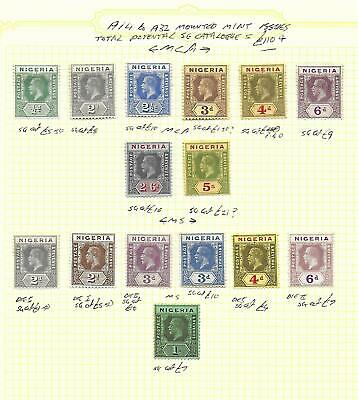 Nigeria Stamp Collection George V 1914-32 issues inc 5/-, 2/6. SG Cat: £110+