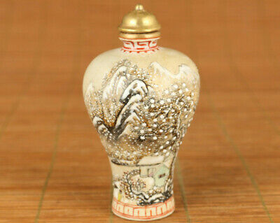 chinese old porcelain hand carved snowscape statue snuff bottle netsuke collect
