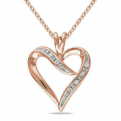 14k Rose Gold Over Sterling Silver Diamond Heart Love Pendant Necklace W/ Chain