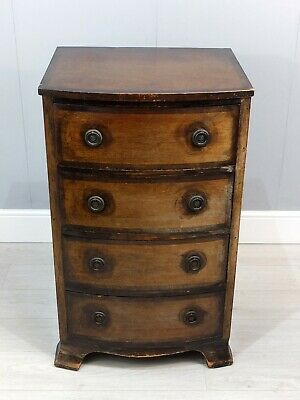 Early 20th Century Antique Oak Bowfront Tallboy Chest of 4 Drawers (68)