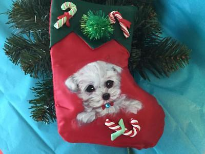 Maltese Puppy Hand Painted Stocking Christmas Ornament