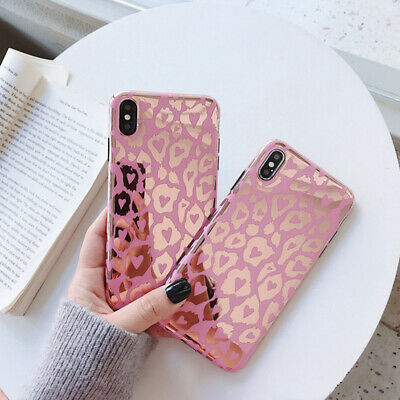 Leopard Print Bling Mirror Diamond Stand  Cover For iPhone XS MAX 7 8 Plus Case