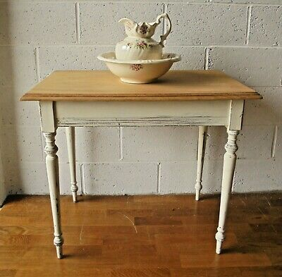 Lovely Shabby Chic Painted Antique French Walnut Kitchen Dining Table Or Desk