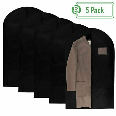40 Inch Garment Bags Travel Storage Black Non Woven Fabric Clothes Cover 5 Count