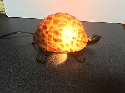 Tiffany Style Stained Glass Turtle Lamp Accent Night Light Brass Base