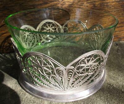 Antique Green Finger Bowl Ziommet Russian Silver Filigree 800 quality or Less