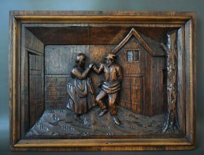 Antique French Architectural 19th.C Carved Oak Wood Wall Panel of Dancing Breton