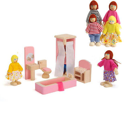 Wooden Furniture 6 Room Set Dolls House Family Miniature Kids Birthday Toy Gift