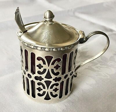 Antique Gorham Sterling Mustard Pot Cranberry Glass Liner With Spoon