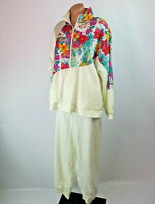 Vtg 80s 90s Floral Bay Waters Windbreaker TRACK SUIT Jacket Coat Jogging Set L