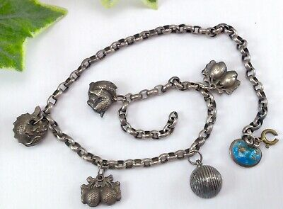 Antique / Vintage Solid Silver Charm Necklace - For Spares or Repair - Not Scrap