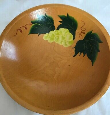 Vintage hand painted Wooden Bowl Grapes Leaves