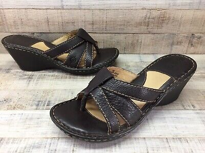 aa7862b30c9dbf WOMEN S BORN BROWN Leather Wedge Sandals Thong Size 8 -  39.99 ...