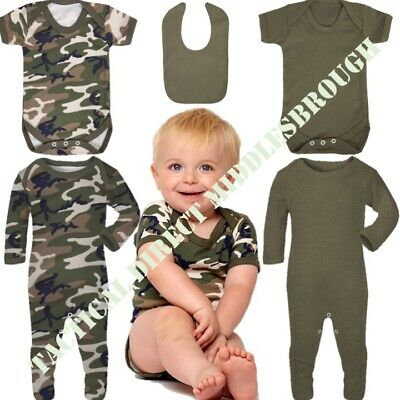 Baby Boy Army Vest 0-24 Month Camo Khaki Baby Grow Bodysuit Sleepsuit Bib Cotton