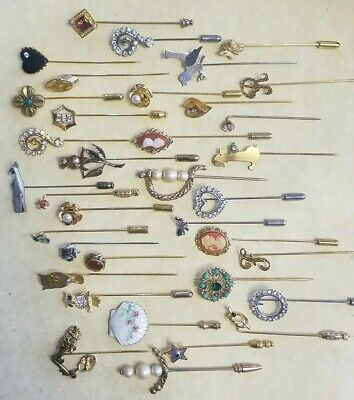Huge Beautiful Lot of 40 Costume Jewelry STICK PINS!  Vintage To Modern