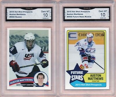 "(2) 2015 Hot Shot Prospects #NNO - ""AUSTON MATTHEWS"" - Rookie - GMA 10 GEM MINT"