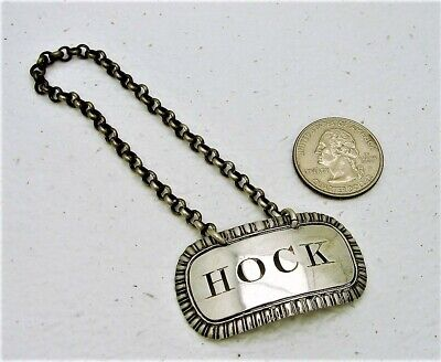 George III English Sterling Silver Hock Bottle Tag with Chain Marked IR  1815-16