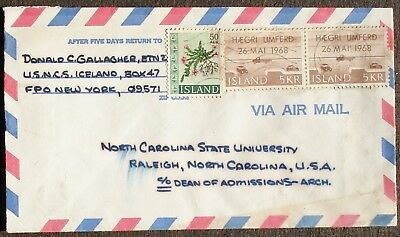 ISLAND # POSTAL COVER to US 1968
