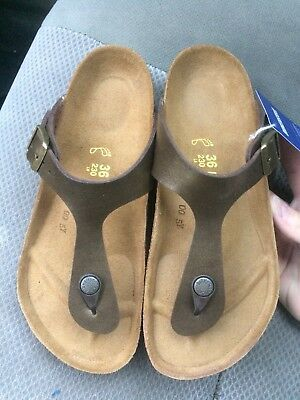 7dceb1fc0d13 Women s new Birkenstock Gizeh Golden Brown Birkoflor thong sandals 5 R   36